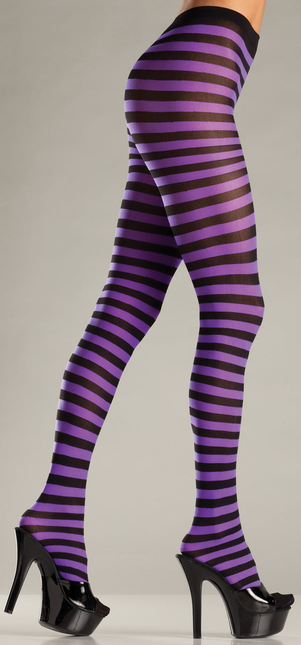 Black and Purple Striped Tights BW517BPURP