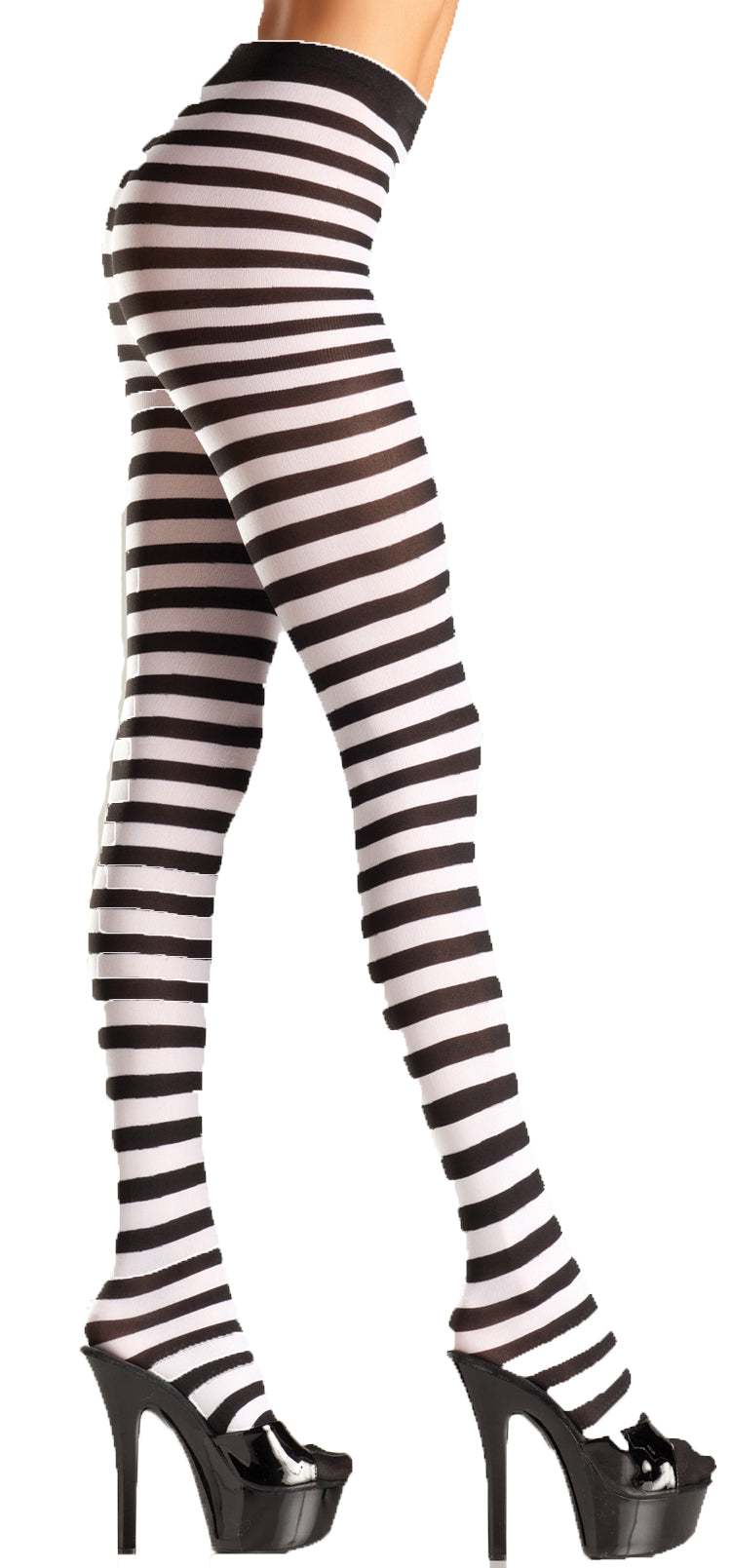 Black and White Striped Tights BW517BW