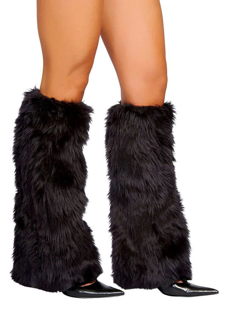 Black Fur Leg Warmer Black Front RMBLKC121