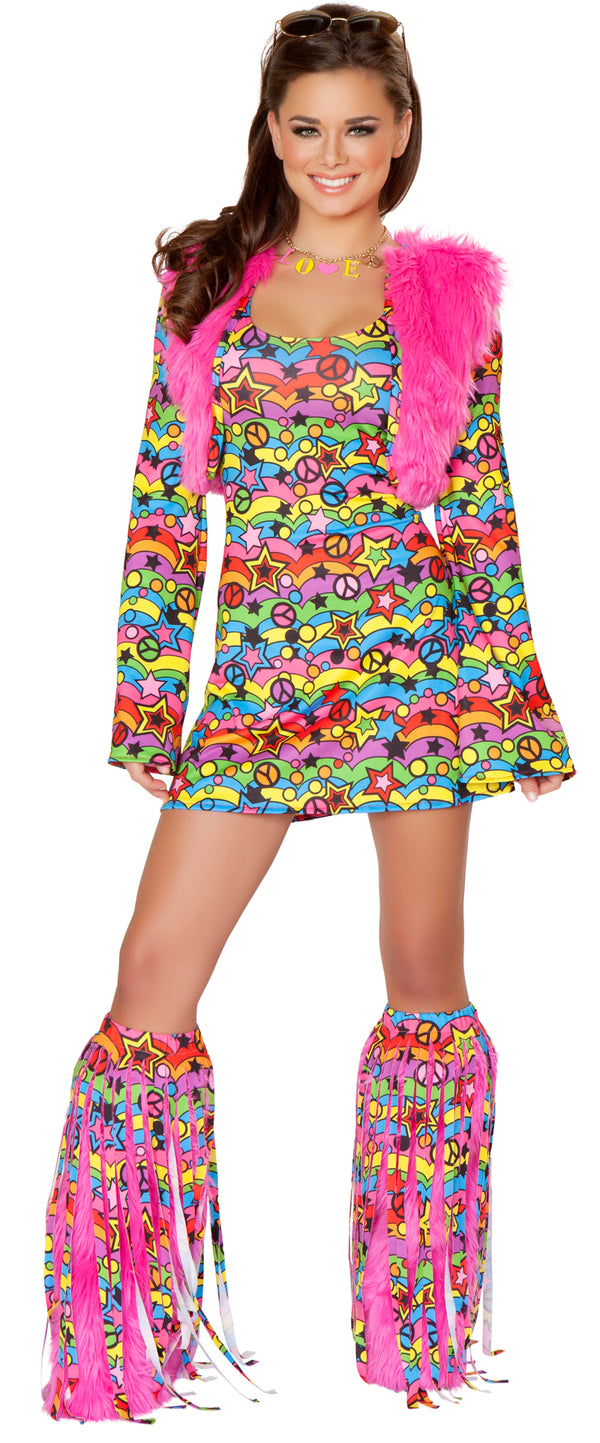 Shaggy Chic Hippie Retro Costume Front JVCA136