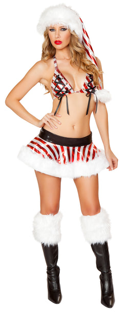Metallic Candy Cane Skirt Set Front JVCM104