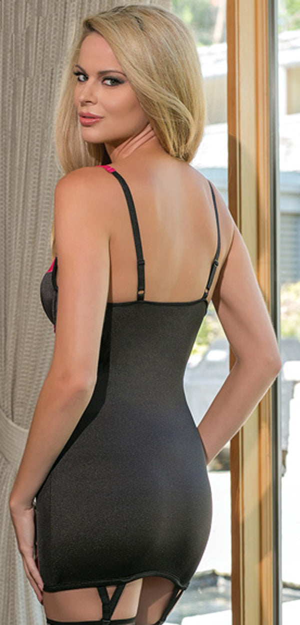 Black and Fuchsia Satin Chemise Back CQ1084