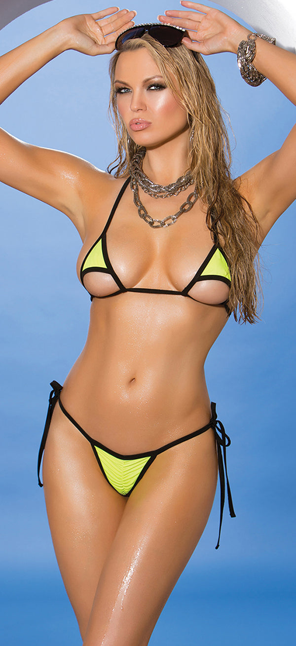 Two Tone Tie Side Bikini Set EM-81282 Front