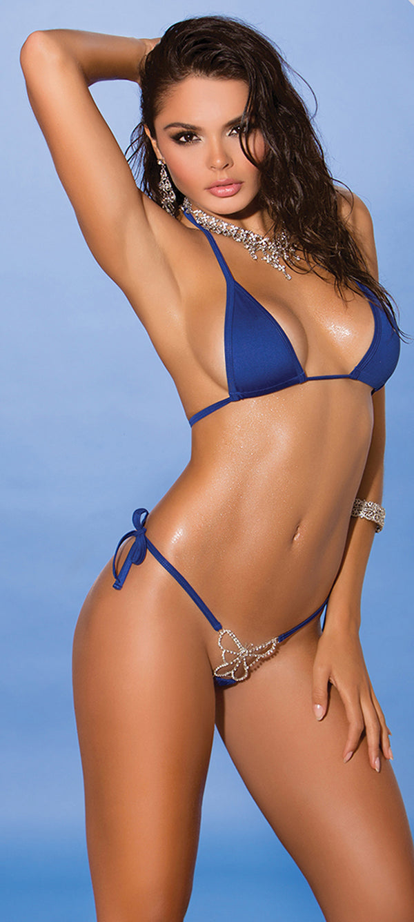 Royal Blue Butterfly Tie Side Bikini EM-81285 Front