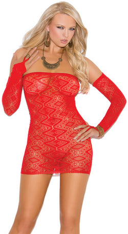 Diamond Pattern Bandeau Dress Red Front EM8742