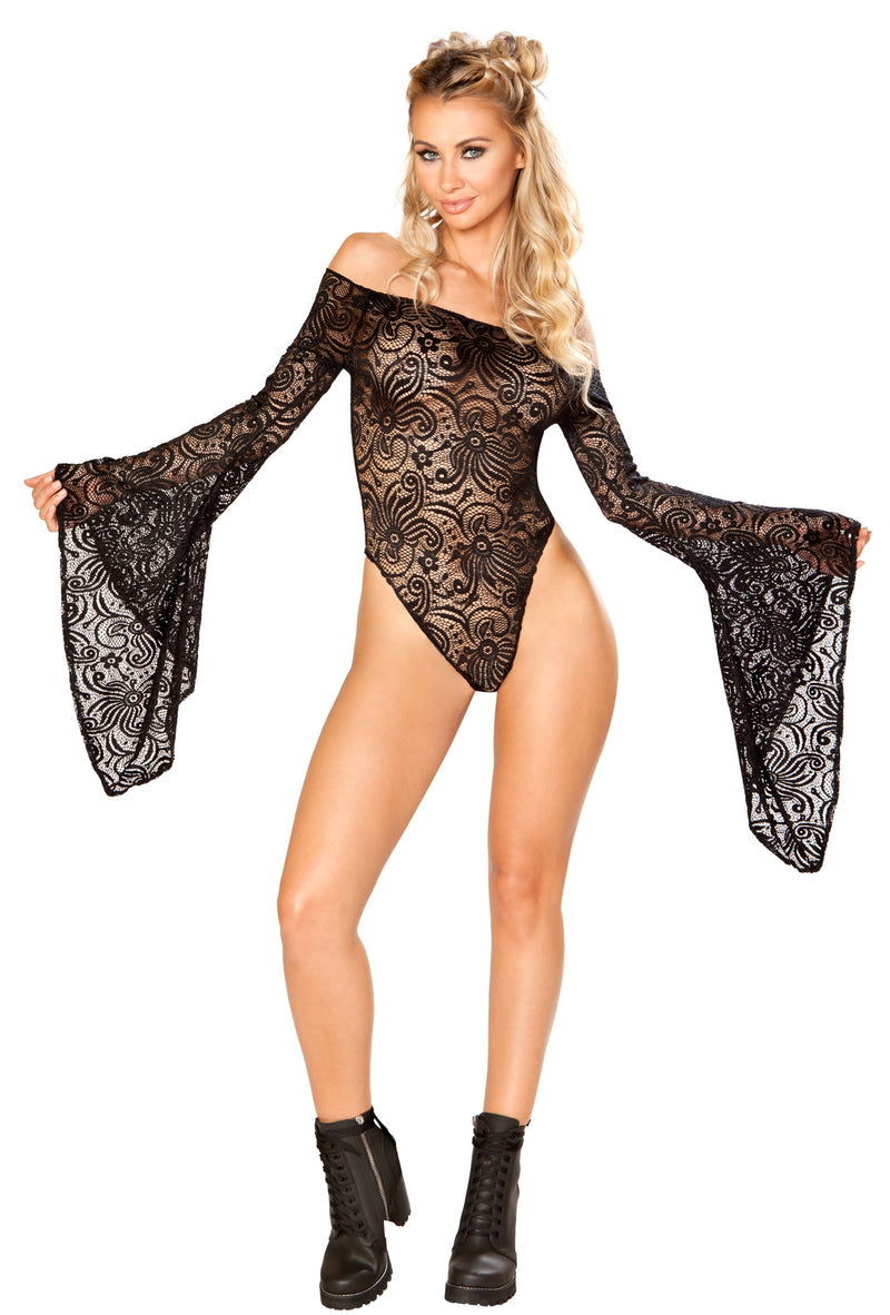 JV-FF112 Off the shoulder lace gypsy sleeve bodysuit black