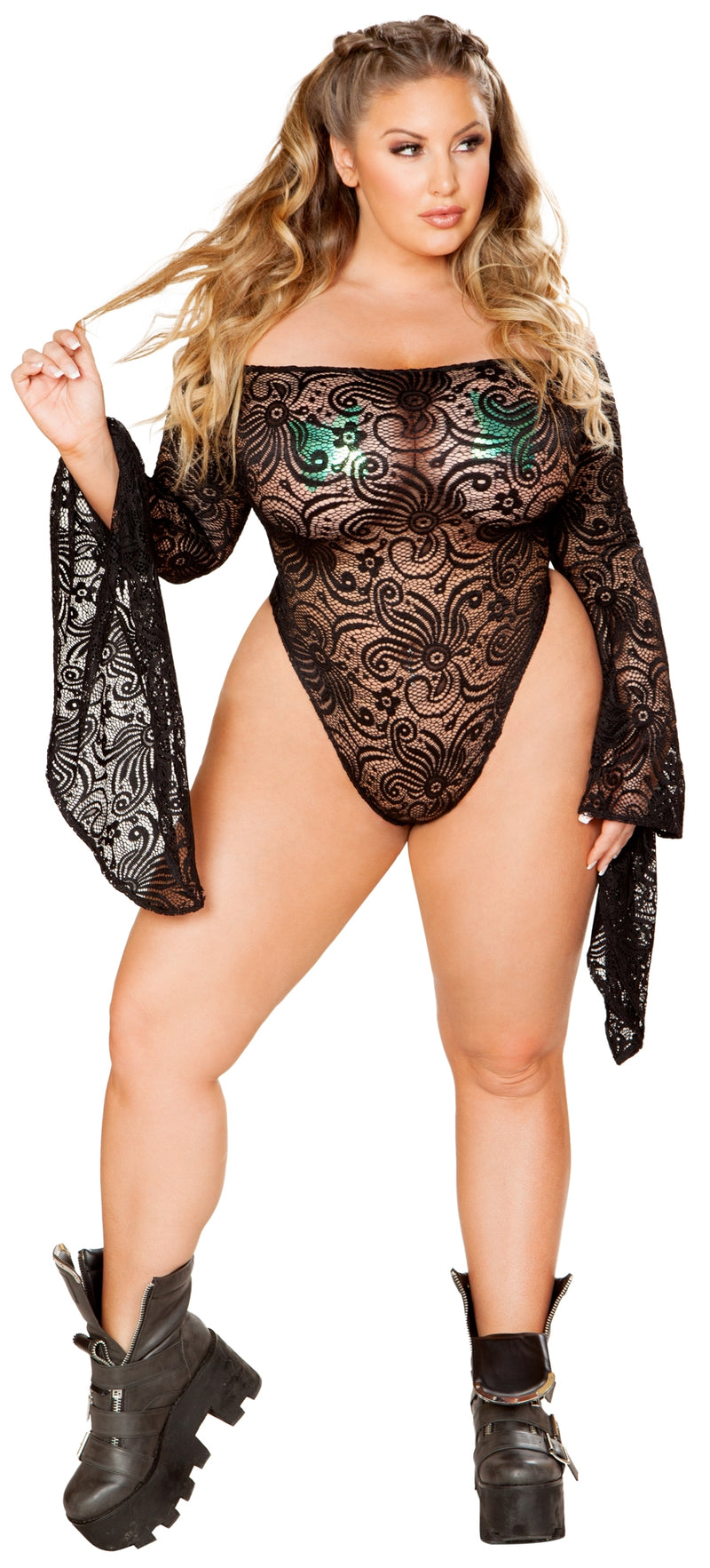 JV-FF112 Off the shoulder lace gypsy sleeve bodysuit plus black