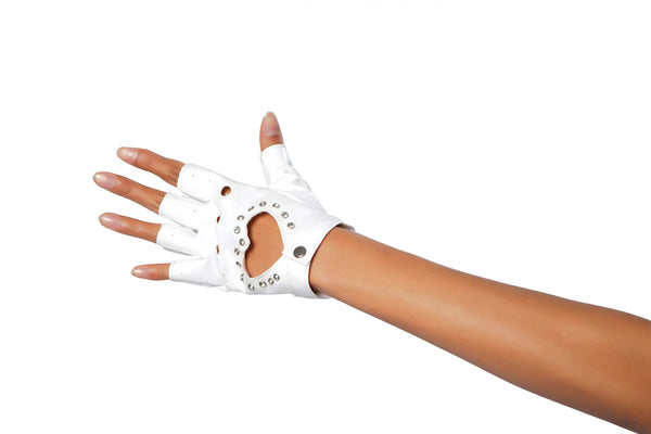 Glove with Heart and StonesWhite RMGL101