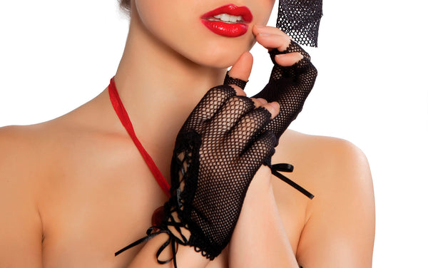 Mini Black Fishnet Lace-Up Gloves Black RMGLF