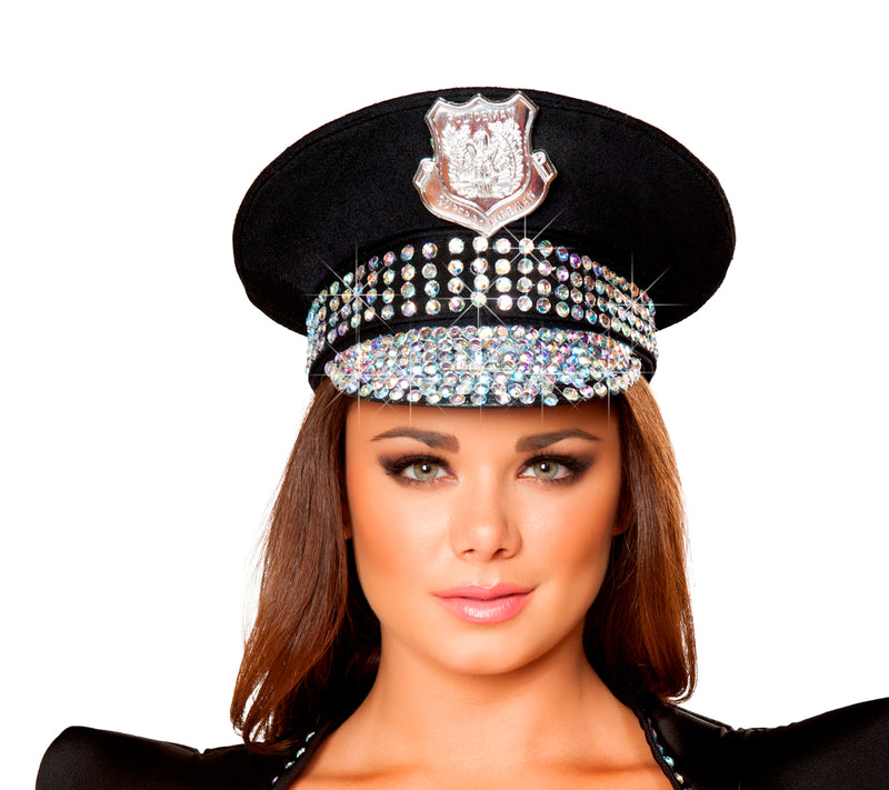 Studded Police Hat Black Front RMH4396