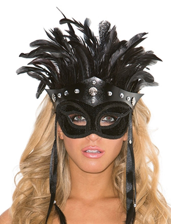 Faux Leather Mask With Feather Headress Main HOT-938-HON