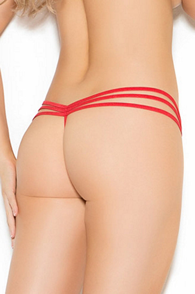 EM-2685 Triple strap lace g string back red