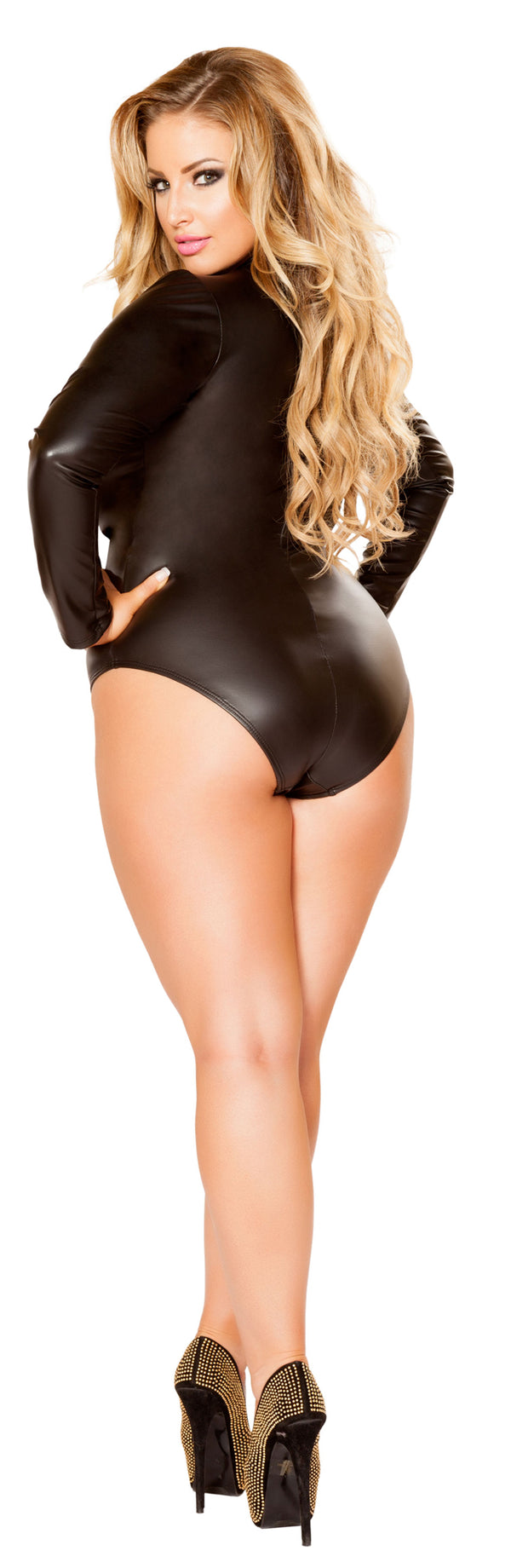 Plus Size Studded Long Sleeve Romper RMLI125-PLUS Back