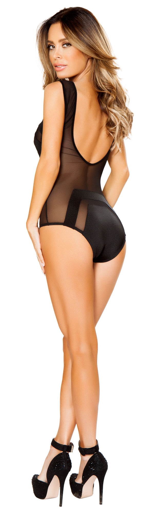Sheer Lingerie Romper RMLI127 Black Back
