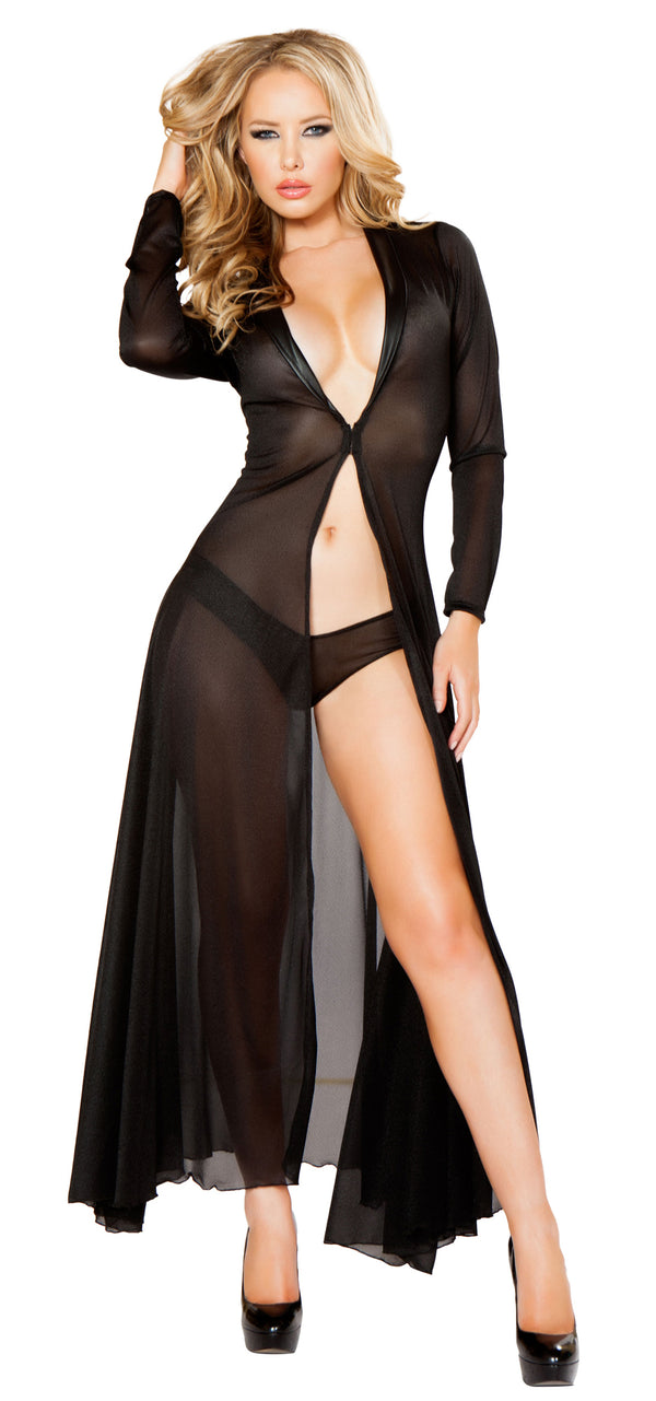 Long Sleeve Mesh Black Robe and Panty RMLI132