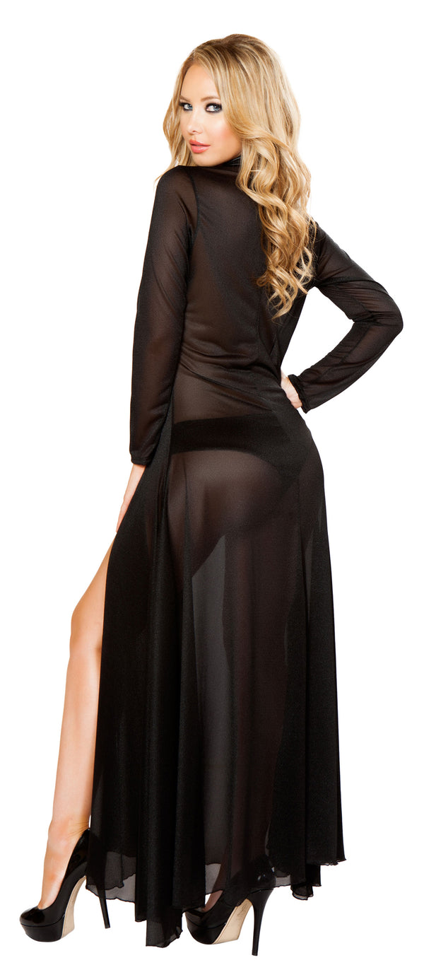 Long Sleeve Mesh Black Robe and Panty RMLI132 Back