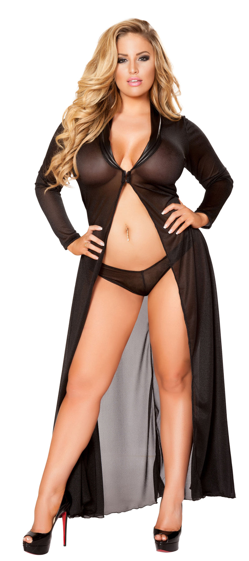 Plus Size Long Sleeve Mesh Black Robe and Panty RMLI132-PLUS
