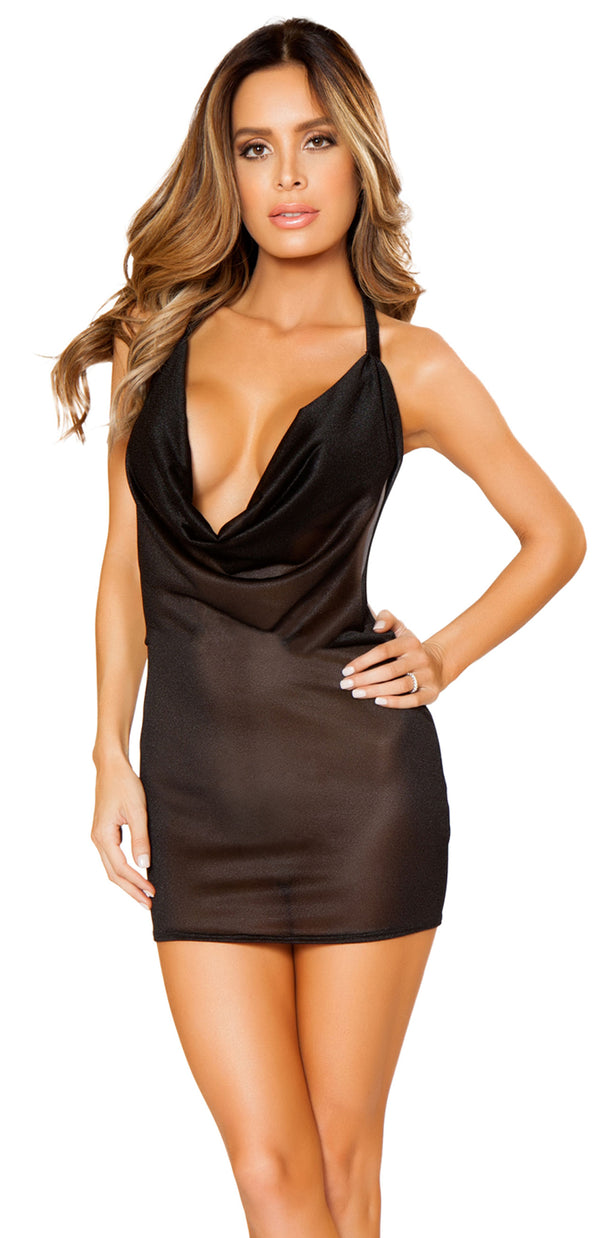 Cowl Neck Lingerie Black Mini Dress RMLI133 Main