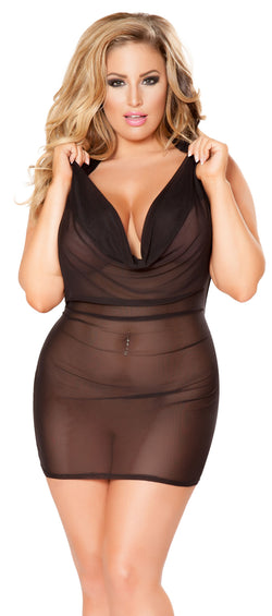 Plus Size Cowl Neck Lingerie Black Mini Dress RMLI133-PLUS