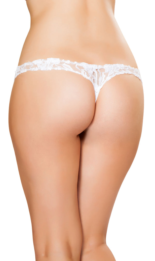 Plus Size Lace Crotchless Thong RMLI138-PLUS White Back