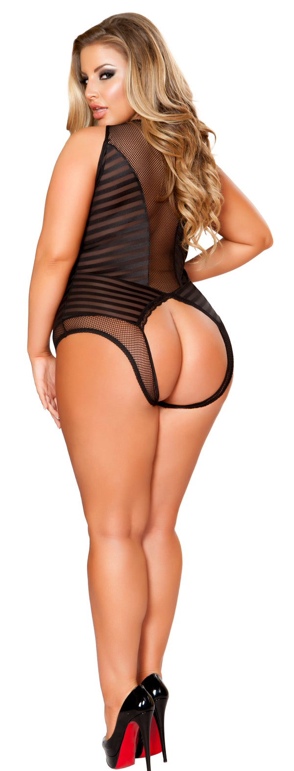 Crotchless Cut Out Plus Size Teddy RM-LI154-PLUS back