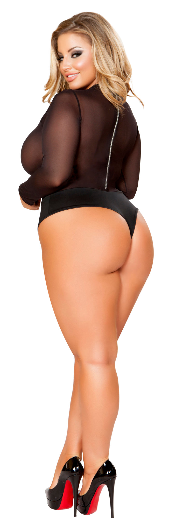Plus Size Black Mesh Bodysuit RM-LI157-PLUS back
