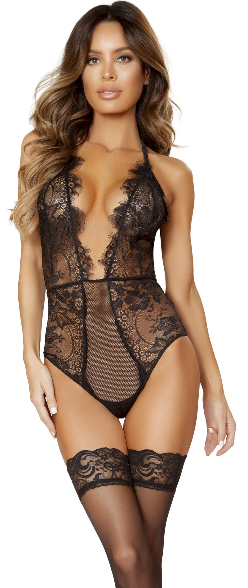RMLI162 Low cut eyelash halter straps lace teddy main