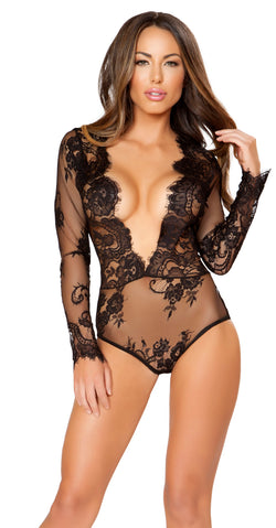 Sleeved Black Mesh Teddy RM-LI167 main
