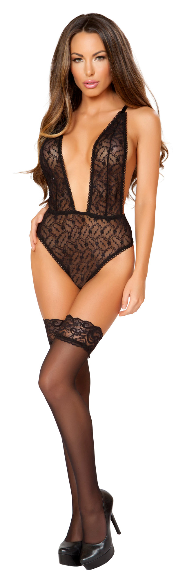 RM-LI168 Black low cut sheer teddy front