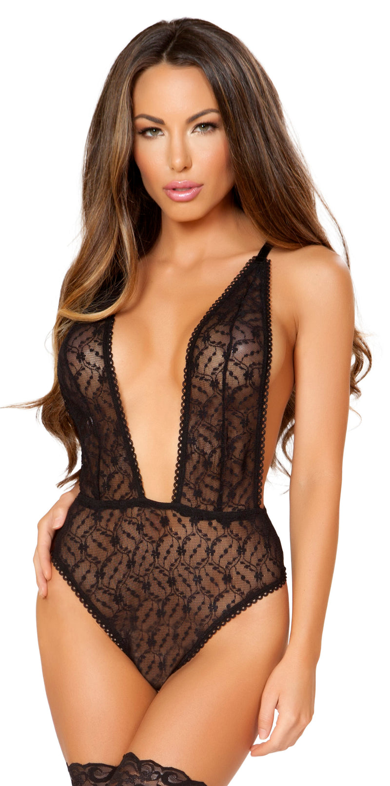 RM-LI168 Black low cut sheer teddy main
