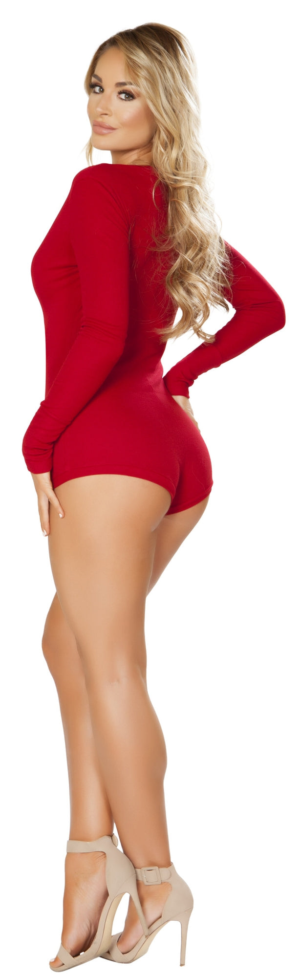 RM-LI211 Cozy and Comfy Sweater Romper burgundy back