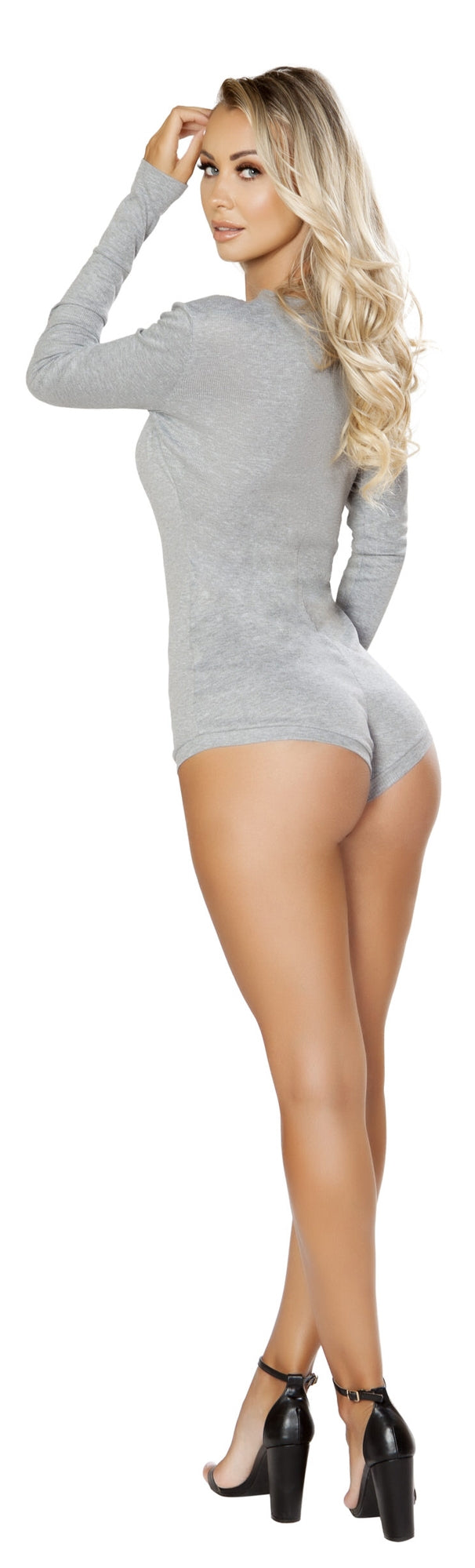 RM-LI211 Cozy and Comfy Sweater Romper grey back