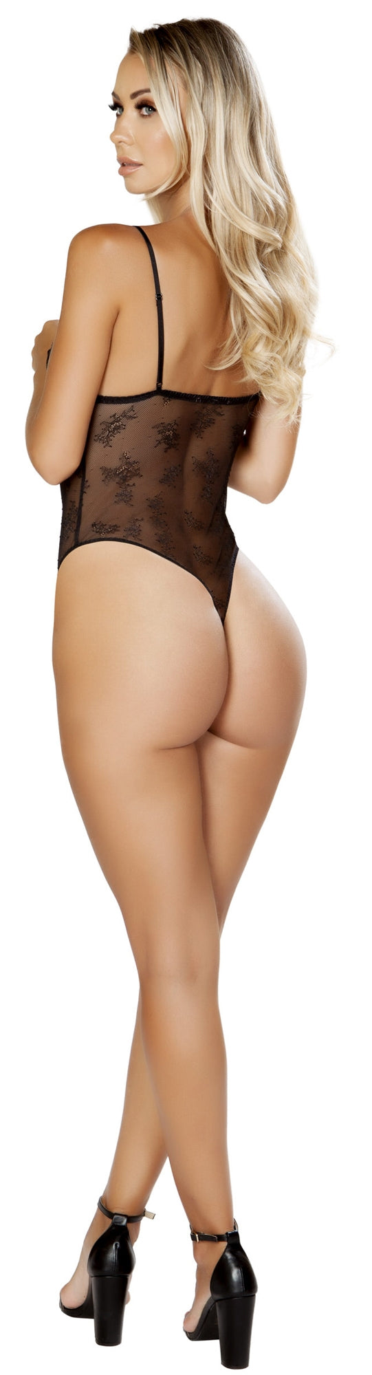 RMLI220 Lace and satin black teddy back