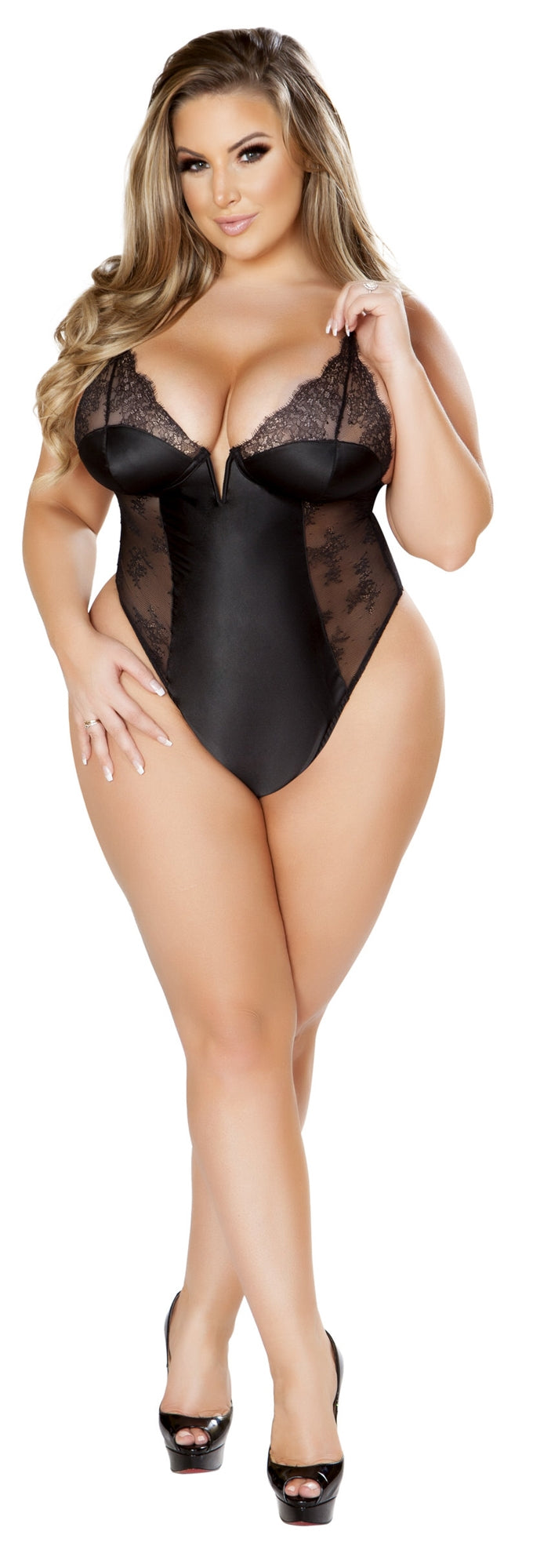 RMLI220 Lace and satin black teddy plus front