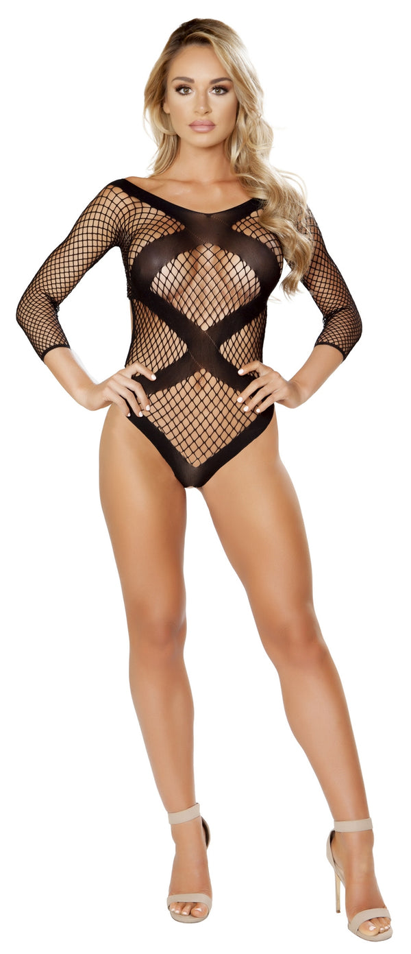 RM-LI235 Criss cross opaque detailing black net teddy black front