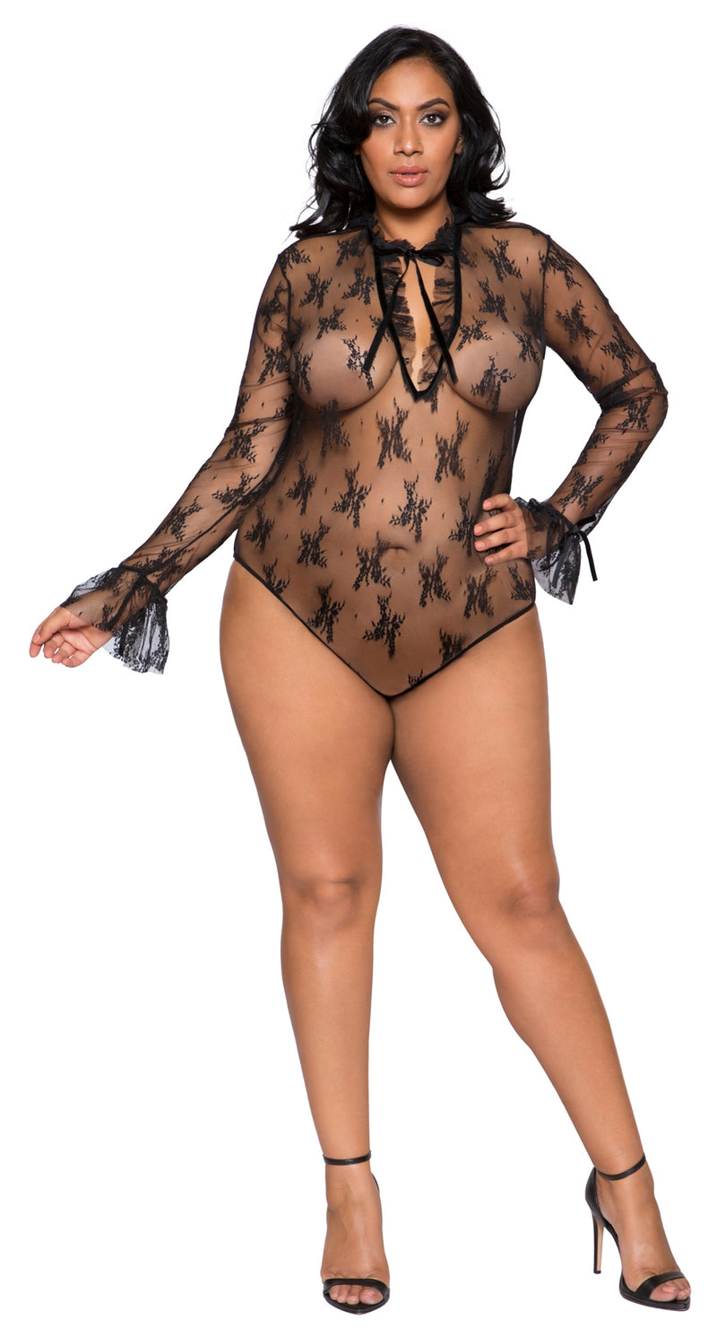 RM-LI248 Long sleeve sheer teddy plus front