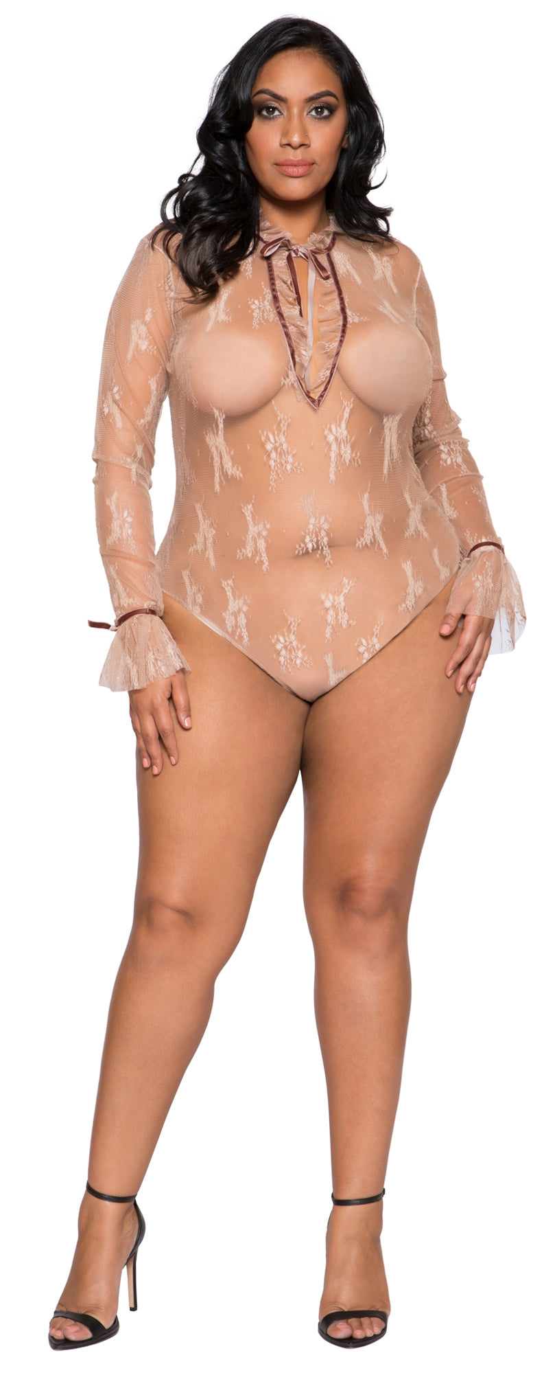 RM-LI249 Long sleeve sheer teddy plus front