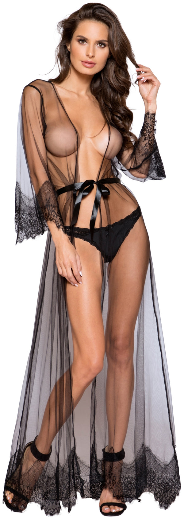 RM-LI255 Sheer Floor Length Robe front black