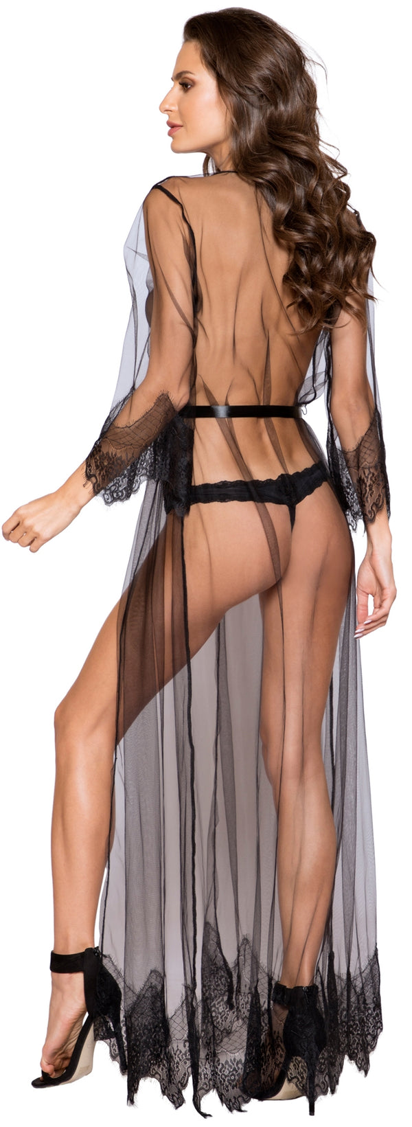 RM-LI255 Sheer Floor Length Robe back black