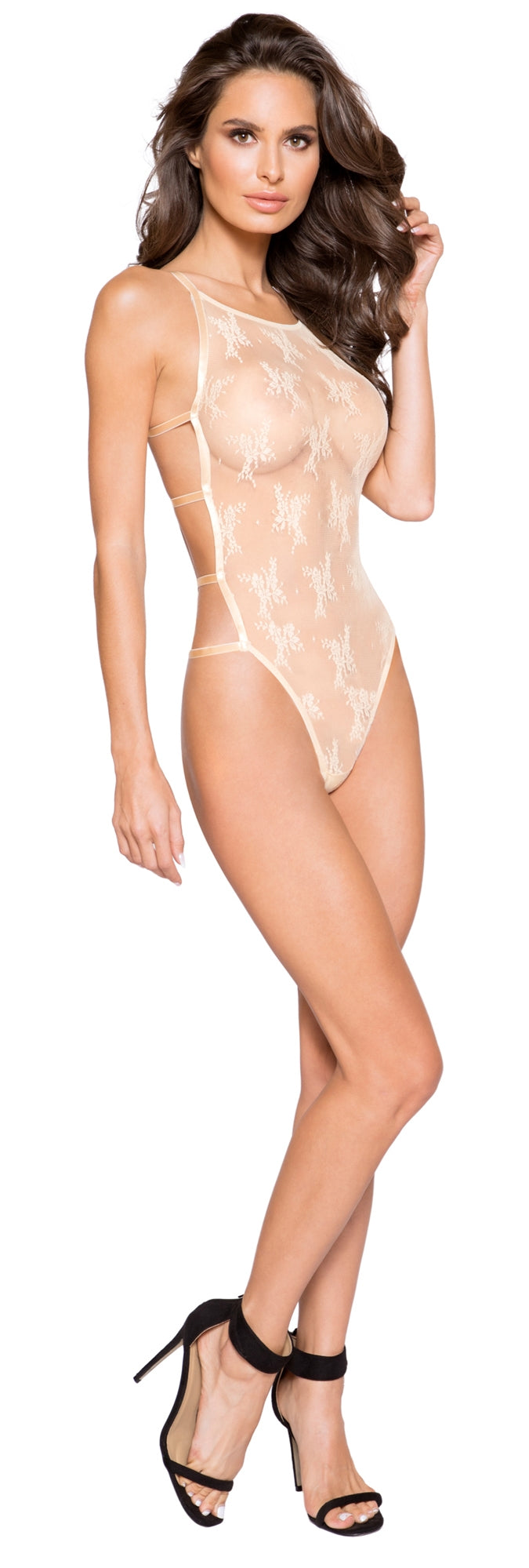 RM-LI272 High neckline sheer lace teddy front