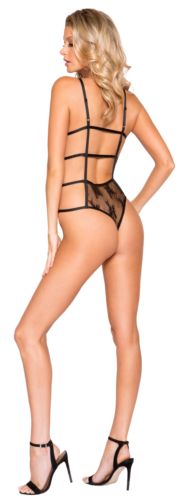 RM-LI273 High neckline sheer lace teddy back