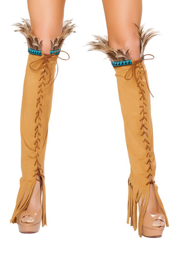 Lace Up Suede Honey Legwarmers RM-LW10106