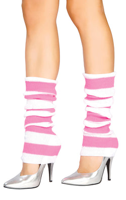 Baby Pink/White Striped Leg Warmer RMBPWLW107