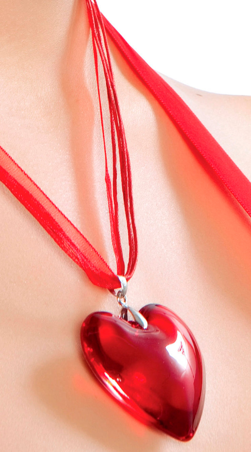 RMNEC402 Red Heart Pendant Necklace