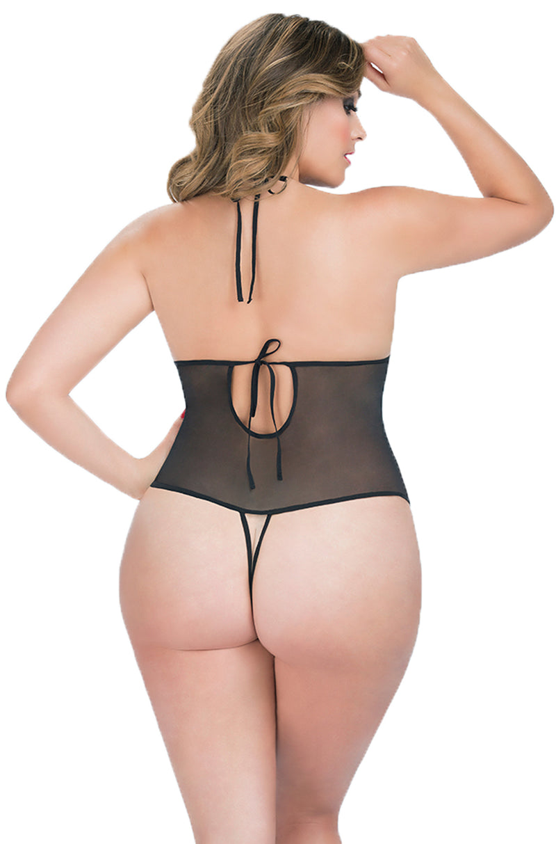 Plus Size Crotchless Lace Teddy With Rhinestones Black Back OLC-3182X-BLK