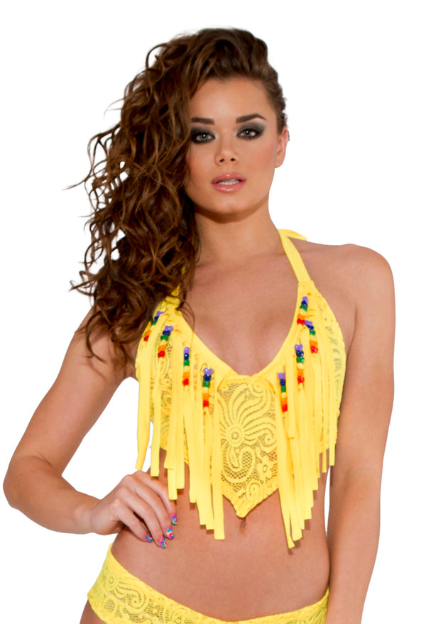 Cyclone Lace Fringe Top JVRB158 Yellow