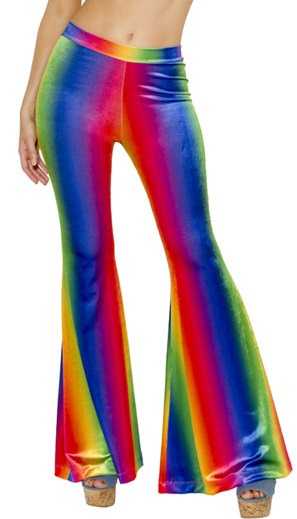 Rainbow Velvet Bell Bottom Pants JVRB201 Front