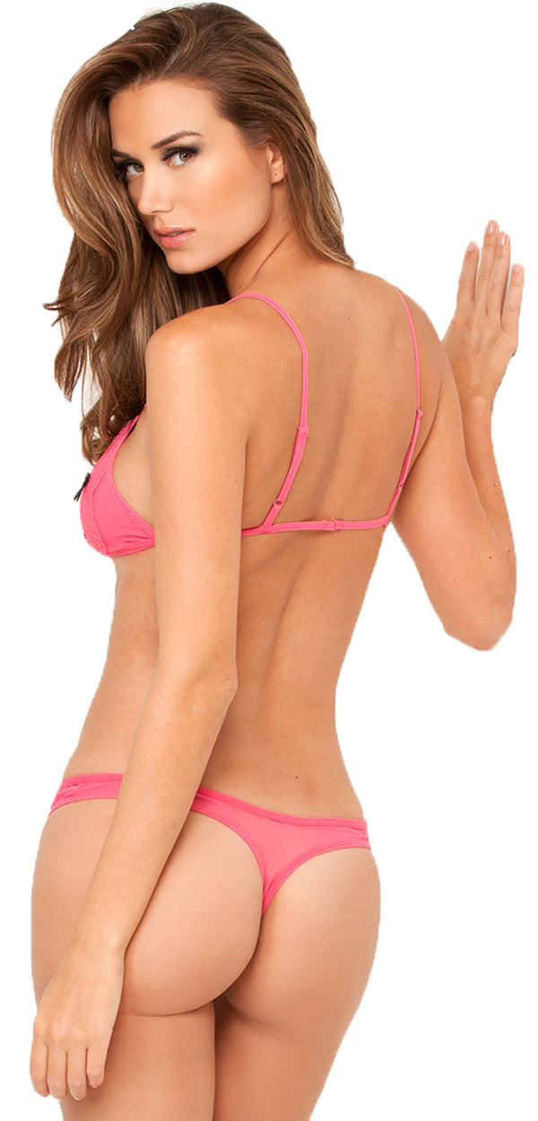 Lace Peek A Boo Bra And Crotchless Thong RR21195PINKHON Back