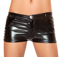 Black Foil Mini Shorts RMBSH2965