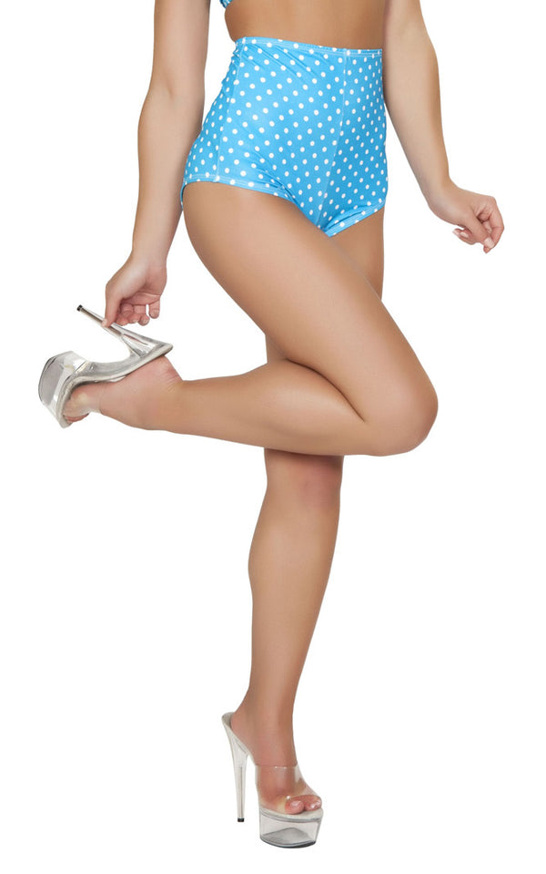 Turquoise High Waisted Shorts Front RMSH3090T